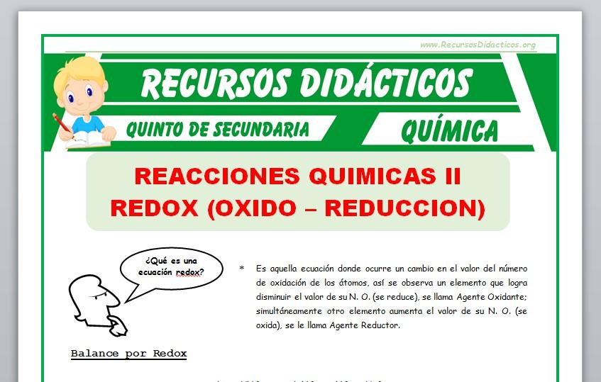 Ficha de Que es una Ecuación Redox para Quinto de Secundaria