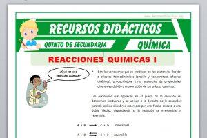 Ficha de Que es una Reacción Química para Quinto de Secundaria