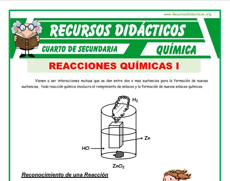 Ficha de Que son las Reacciones Químicas para Cuarto de Secundaria