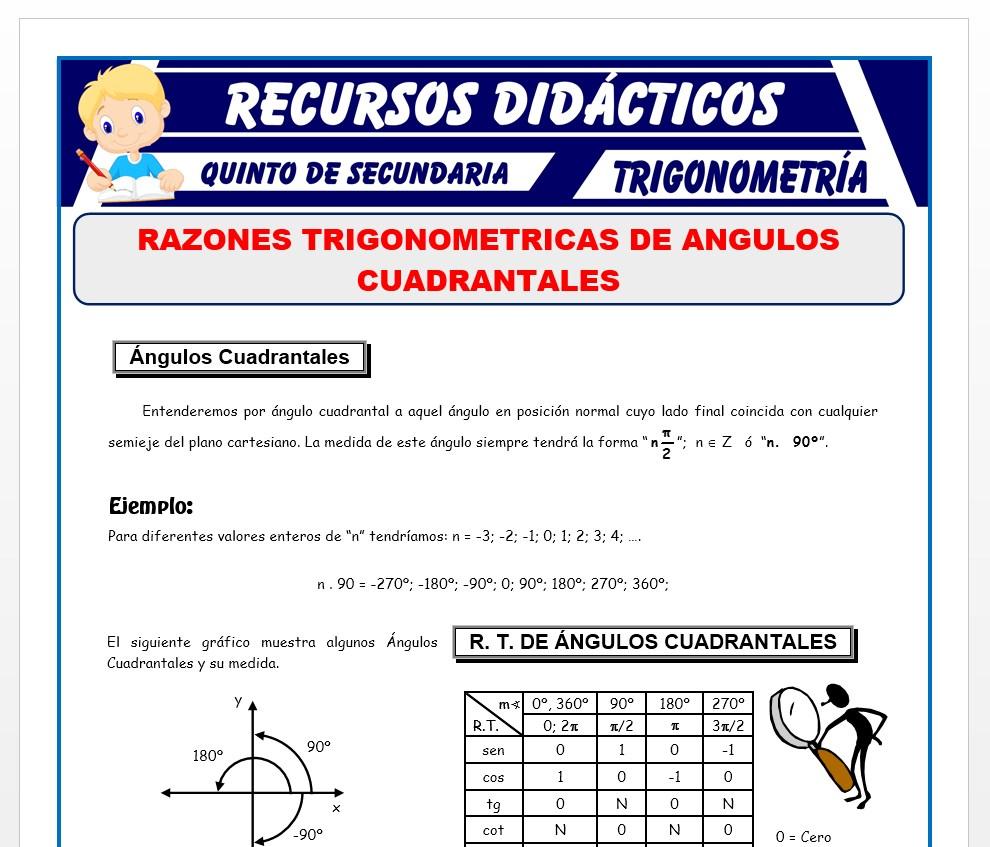 Ficha de Razones Trigonométricas de Ángulos Cuadrantales para Quinto de Secundaria