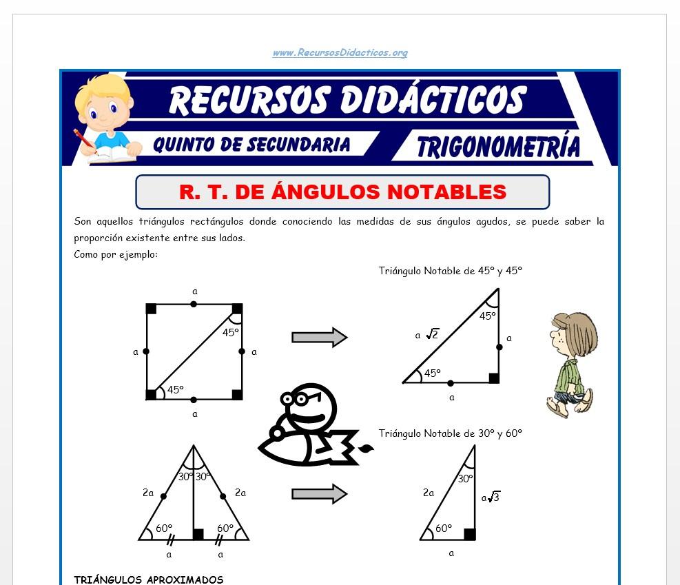 Ficha de Razones Trigonométricas de Ángulos Notables para Quinto de Secundaria