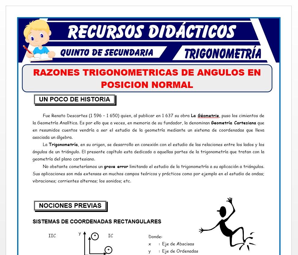 Ficha de Razones Trigonométricas de Ángulos en Posición Normal para Quinto de Secundaria