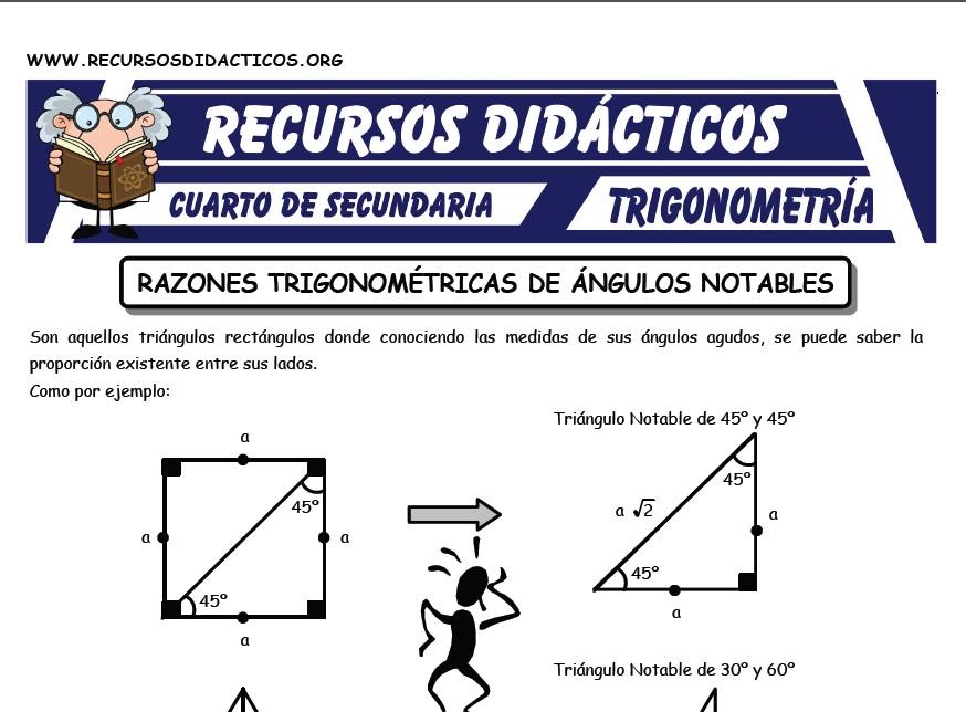 Ficha de Razones Trigonométricas de Triángulos Notables para Cuarto de Secundaria