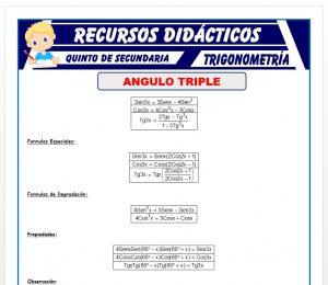 Ficha de Razones Trigonométricas del Ángulo Triple para Quinto de Secundaria