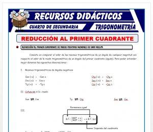 Ficha de Reducción al Primer Cuadrante 1 para Cuarto de Secundaria