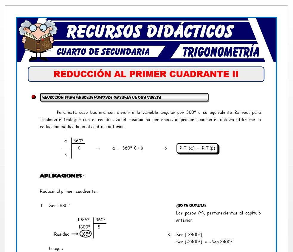 Ficha de Reducción al Primer Cuadrante 2 para Cuarto de Secundaria