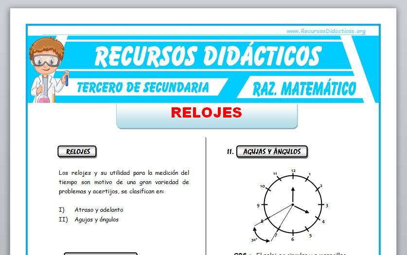 Ficha de Relojes Ejercicios para Tercero de Secundaria