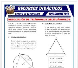 Ficha de Resolución de Triángulos Oblicuángulos para Cuarto de Secundaria