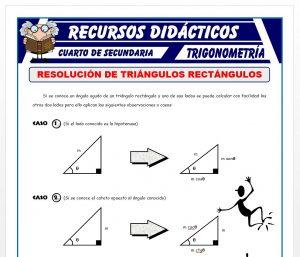 Ficha de Resolución de Triángulos Rectángulos para Cuarto de Secundaria