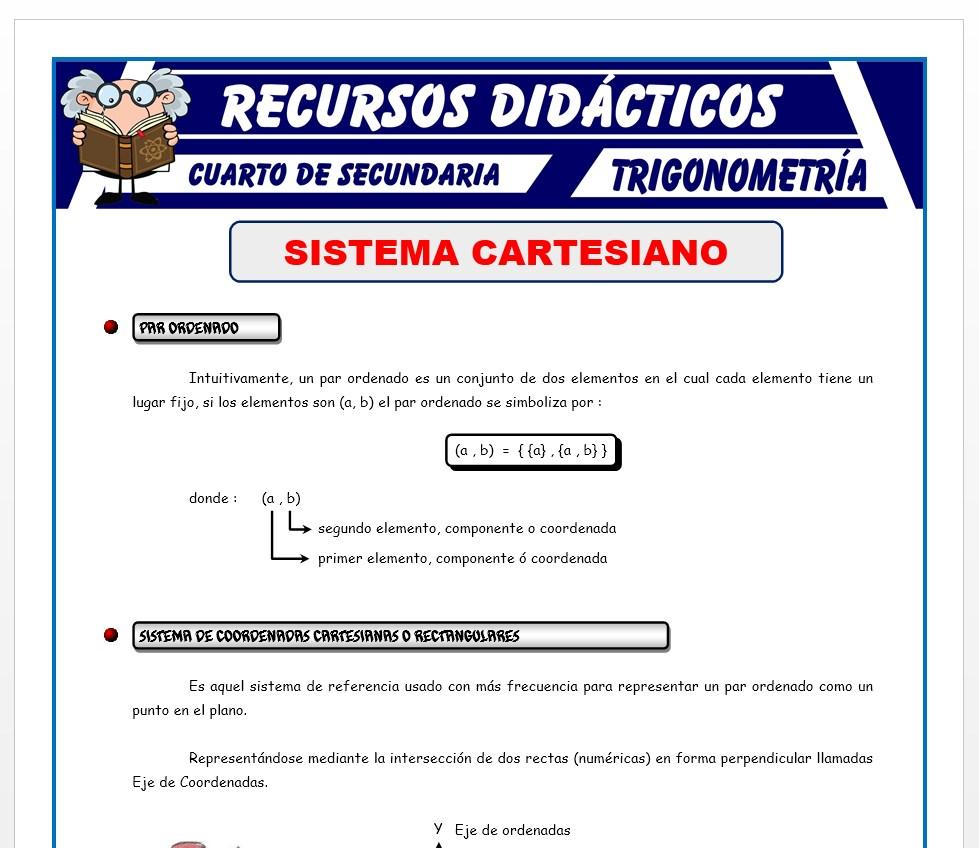 Ficha de Sistema Cartesiano para Cuarto de Secundaria