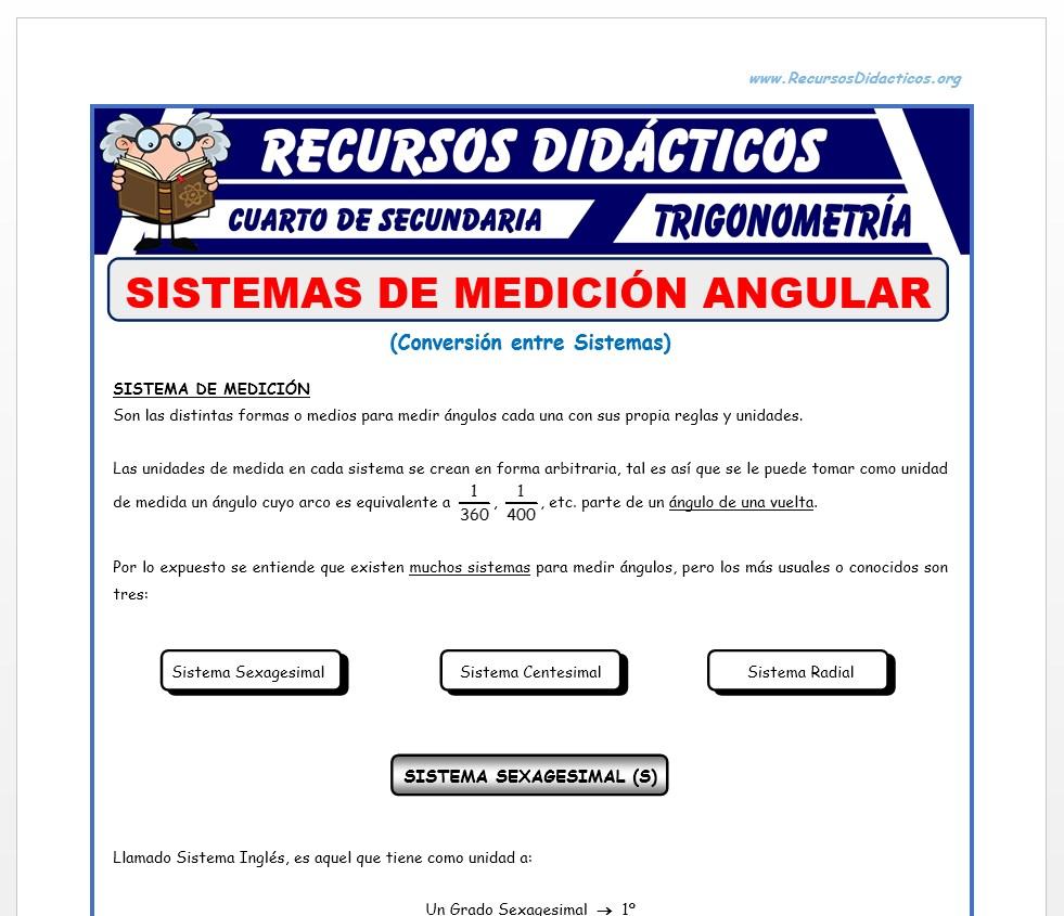 Ficha de Sistemas de Medición Angular para Cuarto de Secundaria
