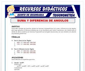 Ficha de Suma y Diferencia de Angulos para Quinto de Secundaria
