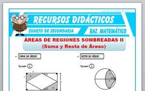Ficha de Suma y Resta de Áreas Sombreadas para Cuarto de Secundaria