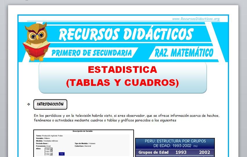 Ficha de Tablas y Cuadros Estadísticos para Primero de Secundaria