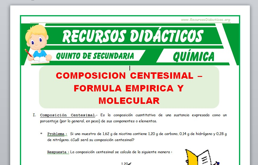 Ficha de Tipos de Formula en una Composición Centesimal para Quinto de Secundaria