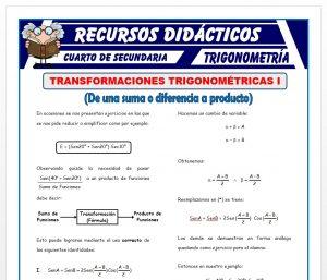 Ficha de Transformaciones Trigonométricas 1 para Cuarto de Secundaria
