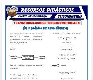 Ficha de Transformaciones Trigonométricas 2 para Cuarto de Secundaria