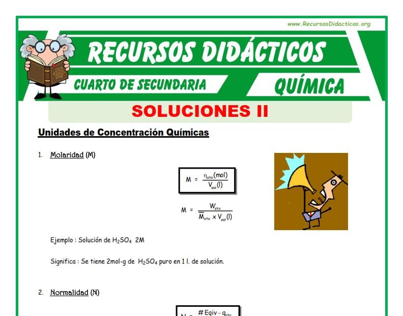 Ficha de Unidades de Concentración Química para Cuarto de Secundaria