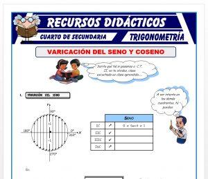 Ficha de Variación del Seno y Coseno para Cuarto de Secundaria