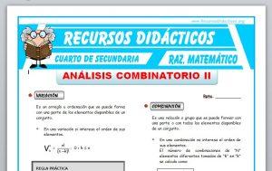 Ficha de Variaciones y Combinaciones para Cuarto de Secundaria