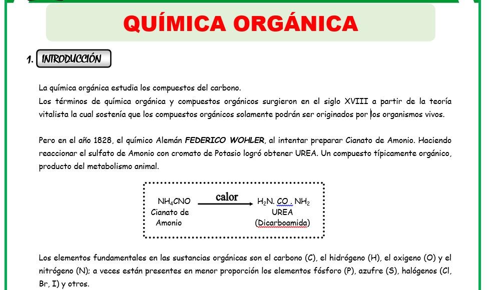Formulas de las fichas de quimica