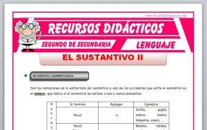 Ficha de Accidentes Gramaticales del Sustantivo para Segundo de Secundaria