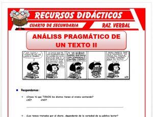Ficha de Actividades de Análisis de un Texto para Cuarto de Secundaria