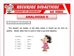 Ficha de Actividades de Analogías para Segundo de Secundaria