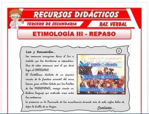 Ficha de Actividades de la Etimología para Tercero de Secundaria