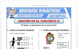 Ficha de Adición de Fracciones para Segundo de Secundaria