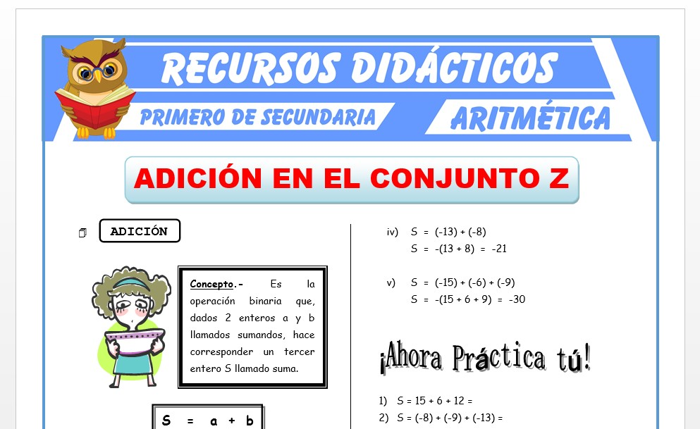 Ficha de Adición de Números Enteros para Primero de Secundaria