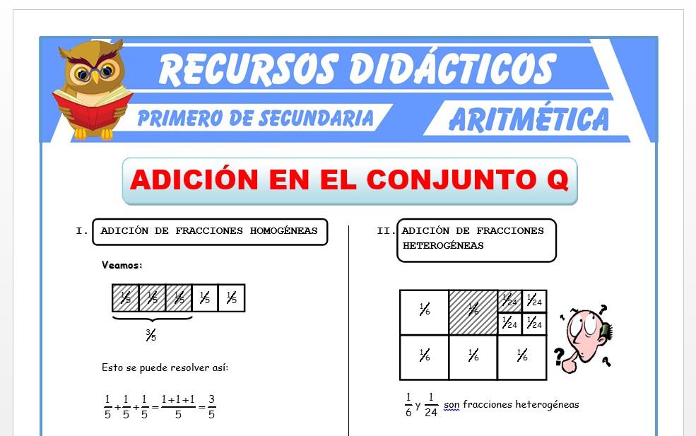 Ficha de Adición de Números Racionales para Primero de Secundaria