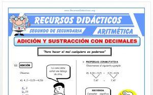 Ficha de Adición y Sustracción de Decimales para Segundo de Secundaria
