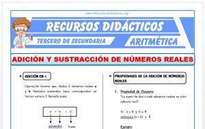Ficha de Adición y Sustracción de Números Reales para Tercero de Secundaria