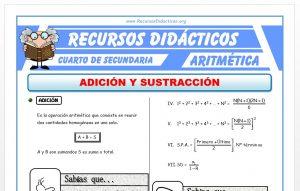 Ficha de Adición y Sustracción para Cuarto de Secundaria