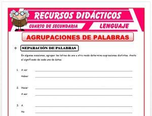 Ficha de Agrupaciones de Palabras para Cuarto de Secundaria