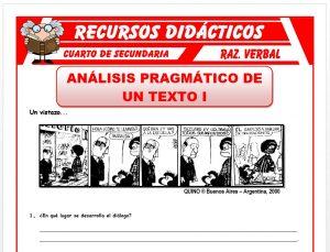Ficha de Análisis Pragmático de un Texto para Cuarto de Secundaria