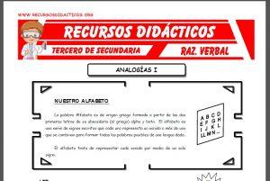 Ficha de Analogías Ejercicios para Tercero de Secundaria
