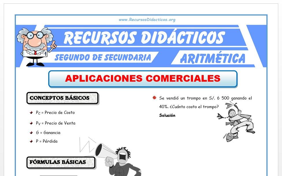Ficha de Aplicaciones Comerciales para Segundo de Secundaria