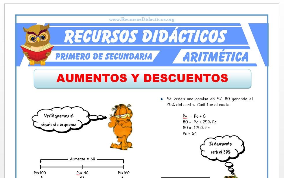 Ficha de Aumentos y Descuentos para Primero de Secundaria