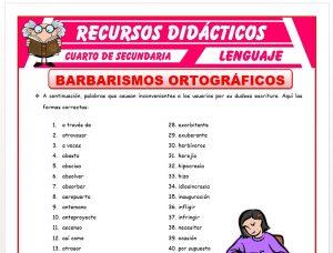 Ficha de Barbarismos Ortográficos para Cuarto de Secundaria