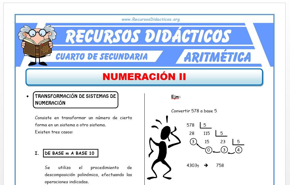 Ficha de Cambio de Sistemas de Numeración para Cuarto de Secundaria