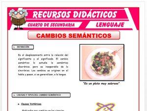 Ficha de Cambios Semánticos para Cuarto de Secundaria