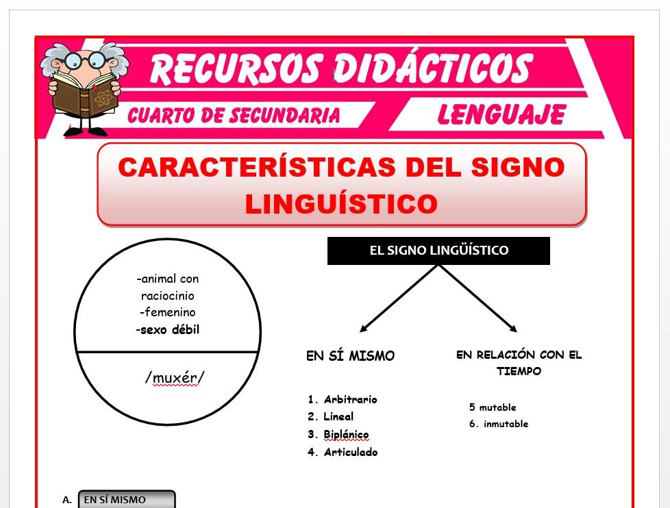 Ficha de Características del Signo Lingüístico para Cuarto de Secundaria