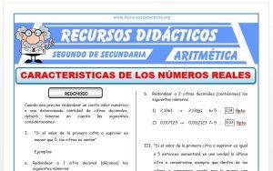Ficha de Caracteristicas de los Números Reales para Segundo de Secundaria