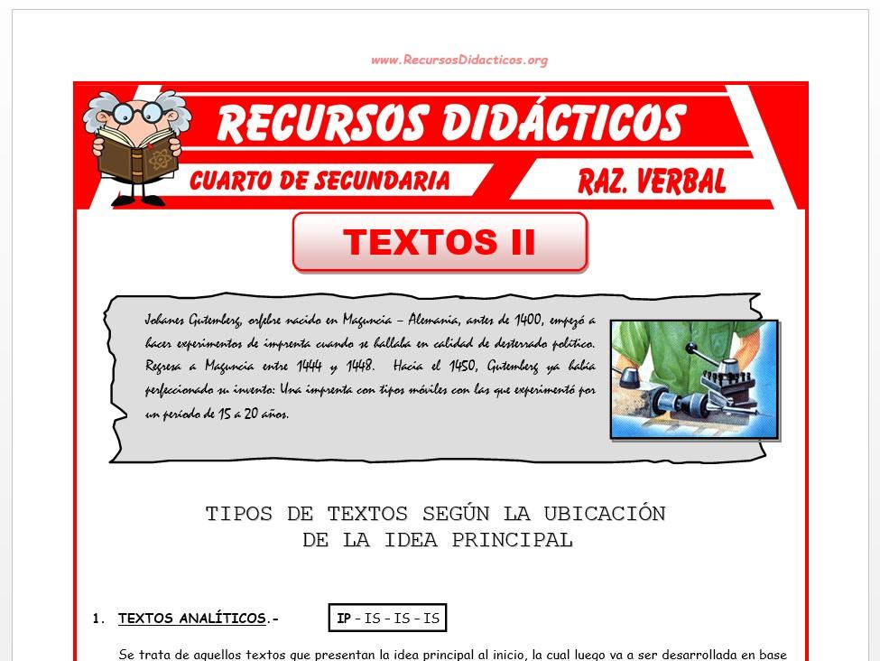 Ficha de Clases de Textos para Cuarto de Secundaria