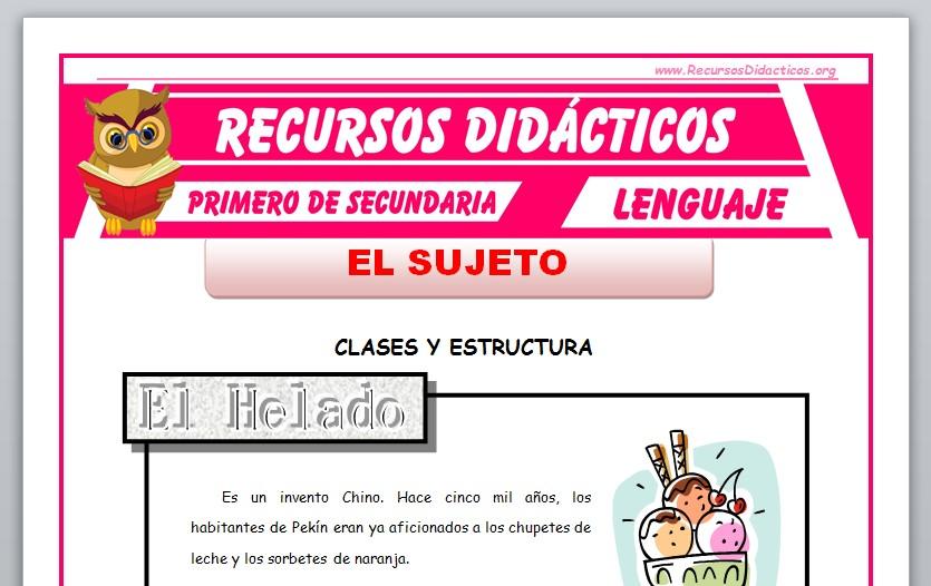 Ficha de Clases y Estructura del Sujeto para Primero de Secundaria