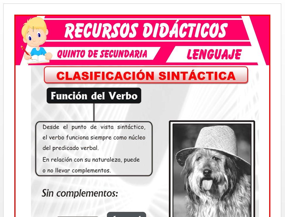 Ficha de Clasificación Sintáctica del Verbo para Quinto de Secundaria