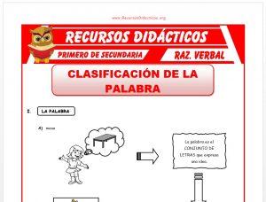 Ficha de Clasificación de la Palabra para Primero de Secundaria