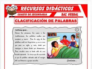 Ficha de Clasificación de las Palabras para Cuarto de Secundaria